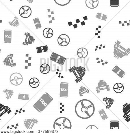 Set Taxi Car Roof, Steering Wheel, Taxi Car And Taxi Call Telephone Service On Seamless Pattern. Vec