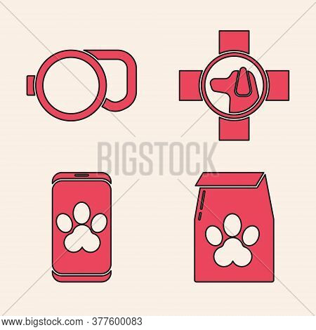 Set Bag Of Food For Pet, Retractable Cord Leash, Veterinary Clinic Symbol And Online Veterinary Clin