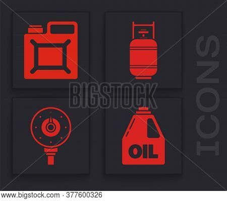 Set Canister For Motor Machine Oil, Canister For Gasoline, Propane Gas Tank And Motor Gas Gauge Icon