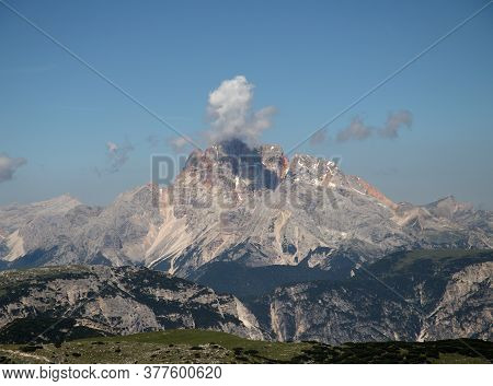Rock Massifs On A Background Of Storm Clouds In The Italian Dolomites