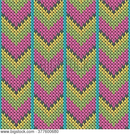 Woolen Downward Arrow Lines Christmas Knit Geometric Seamless Pattern. Blanket Knitting Pattern Imit