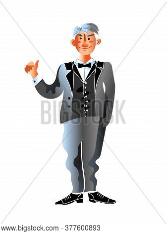 Mature Man Scientist Character Wearing Formal Suit. Great Discoverer Showing Like Sign, Gesturing Th