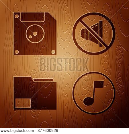 Set Music Note, Tone, Floppy Disk For Computer Data Storage, Document Folder And Speaker Mute On Woo