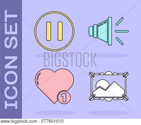 Set Picture Landscape, Pause Button, Like And Heart And Speaker Volume Icon. Vector