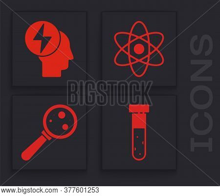 Set Test Tube And Flask Chemical, Head And Electric Symbol, Atom And Microorganisms Under Magnifier