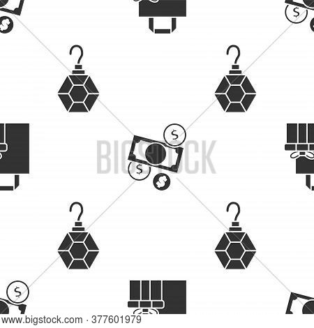 Set Gift Box, Money Cash And Coin And Earring On Seamless Pattern. Vector