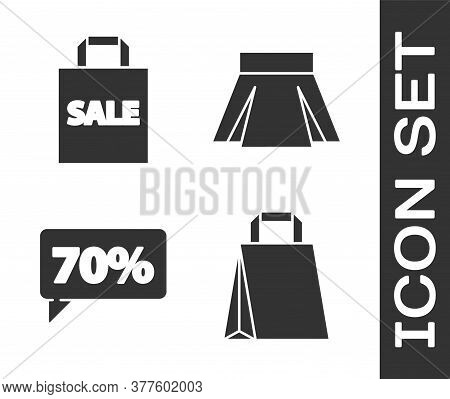 Set Paper Shopping Bag, Shoping Bag With Sale, Seventy Discount Percent Tag And Skirt Icon. Vector