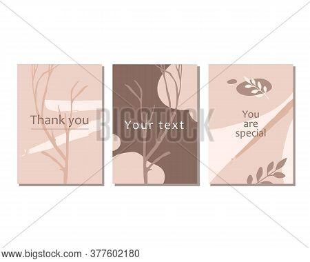 Trendy Vector Art Posters In Pastel Beige Colors. Abstract Geometric Elements, Strokes, Leaves, Bran