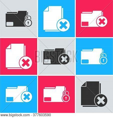 Set Folder And Lock, Delete File Document And Delete Folder Icon. Vector