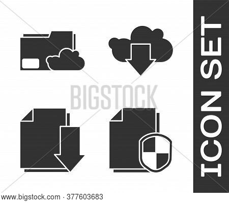 Set Document Protection Concept, Cloud Storage Text Document Folder, Document With Download And Clou