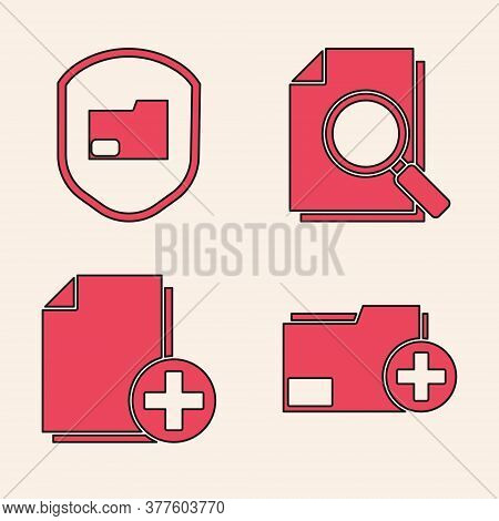 Set Add New Folder, Document Folder Protection, Document With Search And Add New File Icon. Vector