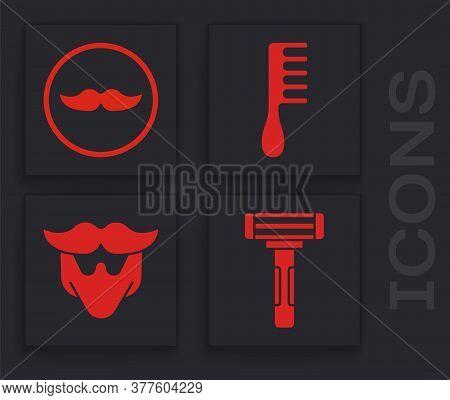 Set Shaving Razor, Mustache, Hairbrush And Mustache And Beard Icon. Vector