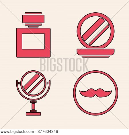 Set Mustache, Aftershave, Makeup Powder With Mirror And Round Makeup Mirror Icon. Vector