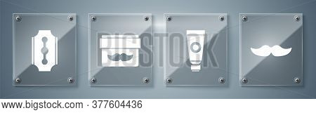 Set Mustache, Cream Or Lotion Cosmetic Tube, Cream Or Lotion Cosmetic Jar And Blade Razor. Square Gl