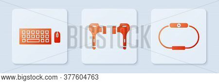 Set Air Headphones, Keyboard And Mouse And Smartwatch. White Square Button. Vector