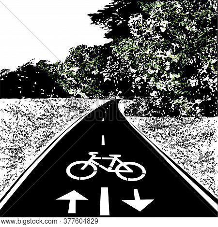 Bicycle Walkway, Bike Path, Summer, Meadow And Forest, Black Vector Image With Elements Of Color, On
