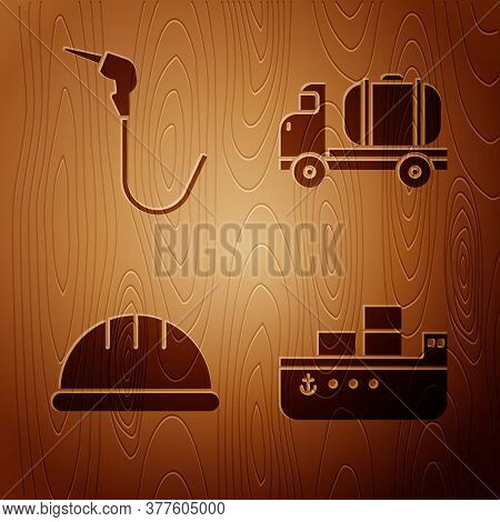 Set Oil Tanker Ship, Gasoline Pump Nozzle, Worker Safety Helmet And Tanker Truck On Wooden Backgroun