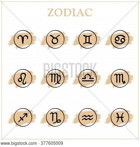 Zodiac Icons. Set Of Zodiac Signs. Astrological Signs On Hand Drawing Background, Isolated On White