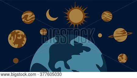 Astrological Planets Above The Earth. Flat Illustration. Astronomy.
