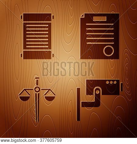 Set Security Camera, Decree, Paper, Parchment, Scroll, Scales Of Justice And The Arrest Warrant On W