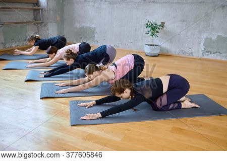 Side View Of Group Of Five Sporty Women Practicing Yoga Lesson. Fit Girls Doing Stretching Exercise,