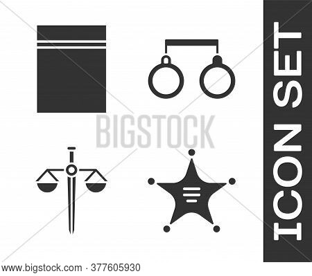 Set Hexagram Sheriff, Plastic Bag With Ziplock, Scales Of Justice And Handcuffs Icon. Vector