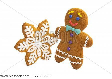 Ginger Christmas Cookie Isolated On White Background