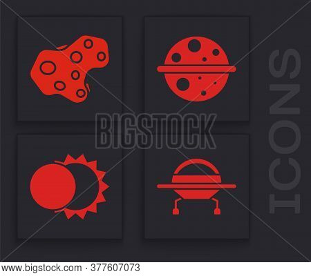 Set Ufo Flying Spaceship, Asteroid, Planet Saturn And Eclipse Of The Sun Icon. Vector