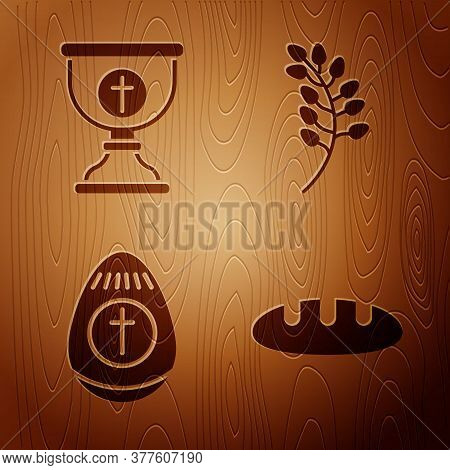 Set Bread Loaf, Christian Chalice, Easter Egg And Willow Leaf On Wooden Background. Vector