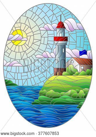 Illustration In Stained Glass Style With A Lighthouse On The Background Of The Sea And The Sunny Day
