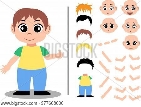 Cute Boy Character Constructor For Animation And Custom Illustrations. Character Creation Set With V