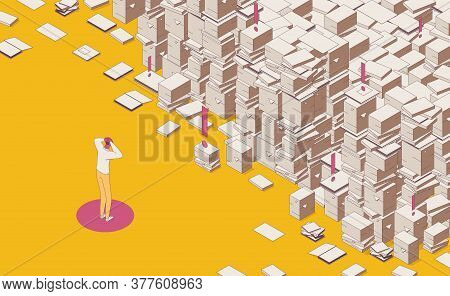 Isometric Full Color Outline Mess Paper Work, Documents And Important Files Drawn, Man Holds His Hea