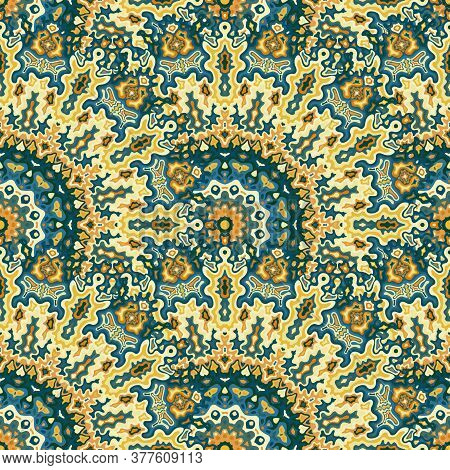 Chakra Geometric Seamless Ornament. Turkish Folk Vector Composition. Lace Traditional Kaleidoscope F