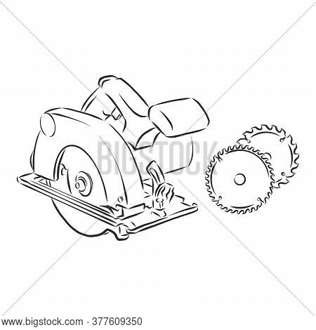 Hand Drawn Sketch Illustration Of Electric Circular Saw Vector. Circular Saw, Vector Sketch Illustra