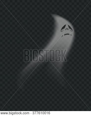 Spooky Halloween Ghost, Realistic Scary Monster Silhouette. Flying Phantom With Sad Face Expression.