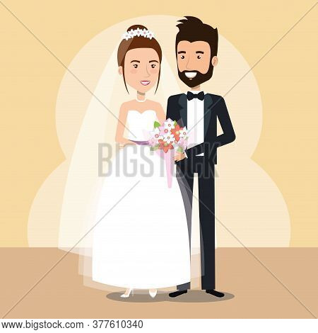Just Married Couple Avatars Characters Vector Illustration Design