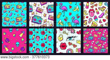 Seamless 90s Pattern. Retro 80s Pop Fashion Patterns With Funky Doodle Stickers. Lips, Music Tape An