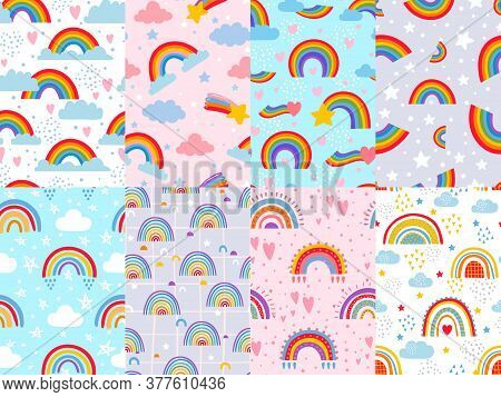 Seamless Rainbow Pattern. Stars, Clouds And Rainbows In Sky, Colorful Arc Decoration Backdrop Vector