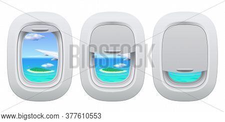Airplane Porthole View. Plane Open And Closed Window Inside View For Island In Ocean. Traveling By A