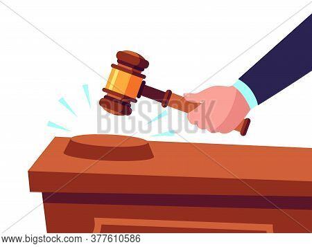 Auctioneer Hold Gavel In Hand And Selling Goods, Offering For Bid. Buying Or Purchasing Products. Ju