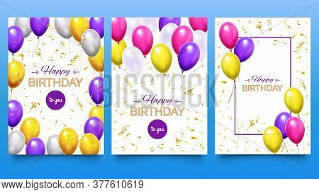 Balloon Poster For Birthday Party. Colorful Helium Balloons With Falling Golden Glitter Confetti And