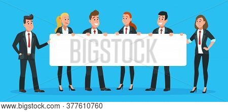 Business People Holding Banner. Man And Woman Office Workers In Suits And Ties With Blank Or Empty S