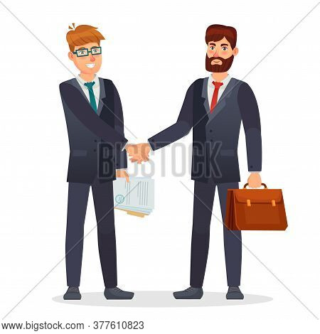Business People Shaking Hands. Partners Making Deal, Having Contract Agreement. Document Signing For