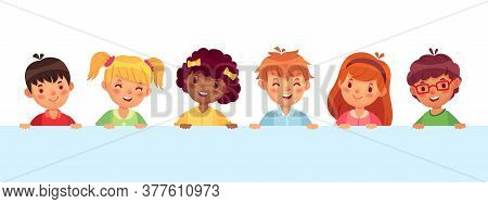 Children Peeking Out From Wall, Diverse Cheerful Kids Laughing And Smiling. Teenager Characters With