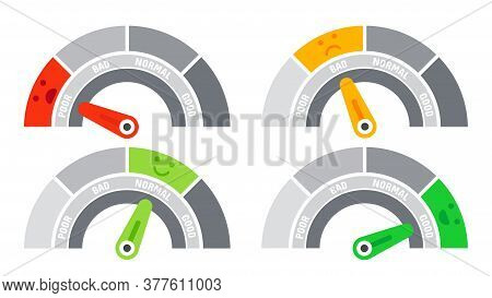 Credit Score Speedometer Indicating Different Emotions As Poor And Bad, Normal And Good. Ranking Sca