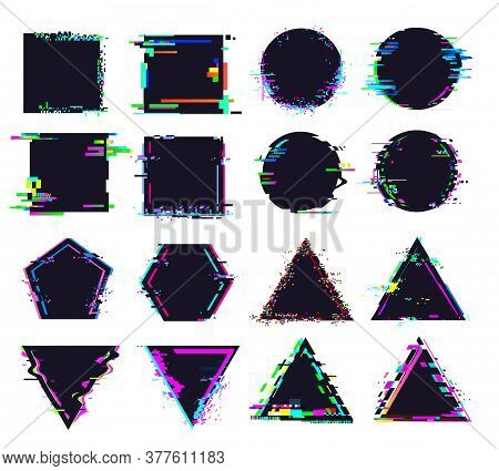 Glitch Black Frames Of Different Shape. Distorted Signal, Square And Round, Triangle And Polygonal F