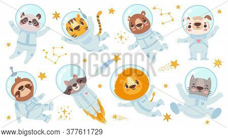 Animals Astronauts. Space Team Cute Animal In Space Suits, Starry Universe With Cosmonauts For Child