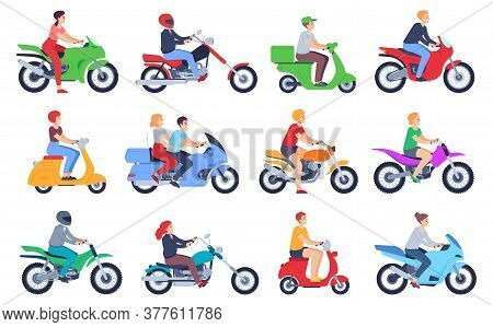 Motorcycle Riders. Men And Women Drivers In Helmet On Moped, Motorbike. Fast Delivery Food Courier,