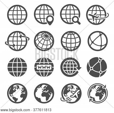 Earth Globe Icons. Worldwide Map Spherical Planet, Geography Continent Contour, World Orbit Global C