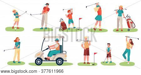 Golf Players Characters. Men, Women And Children Playing Golf On Green Grass, Golfers With Clubs And